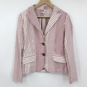 Cabi Captains Nautical Blazer Seersucker Red White